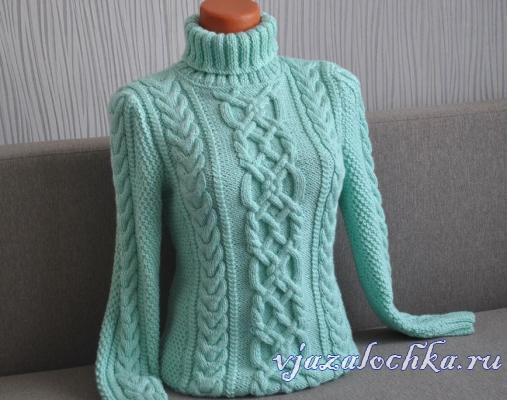 Мятный свитер спицами