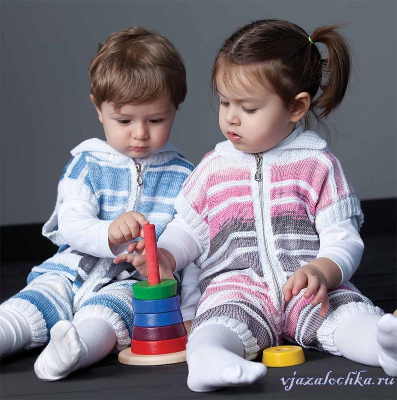 Детские комбинезоны спицами