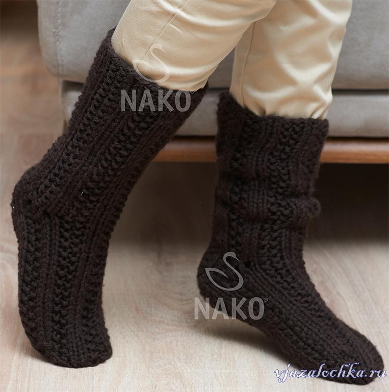 Вязаные мужские носки и тапочки по схемам вязания ...