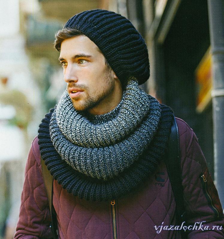 Вязаные мужские шапки и шарфы, крючком и спицами ...