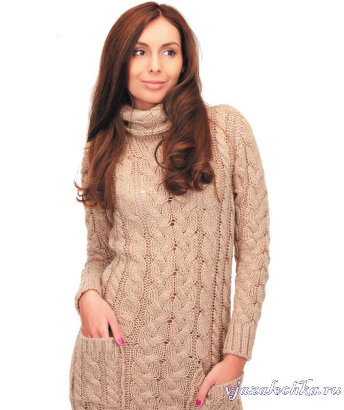 Длинное платье спицами, выполнено косами